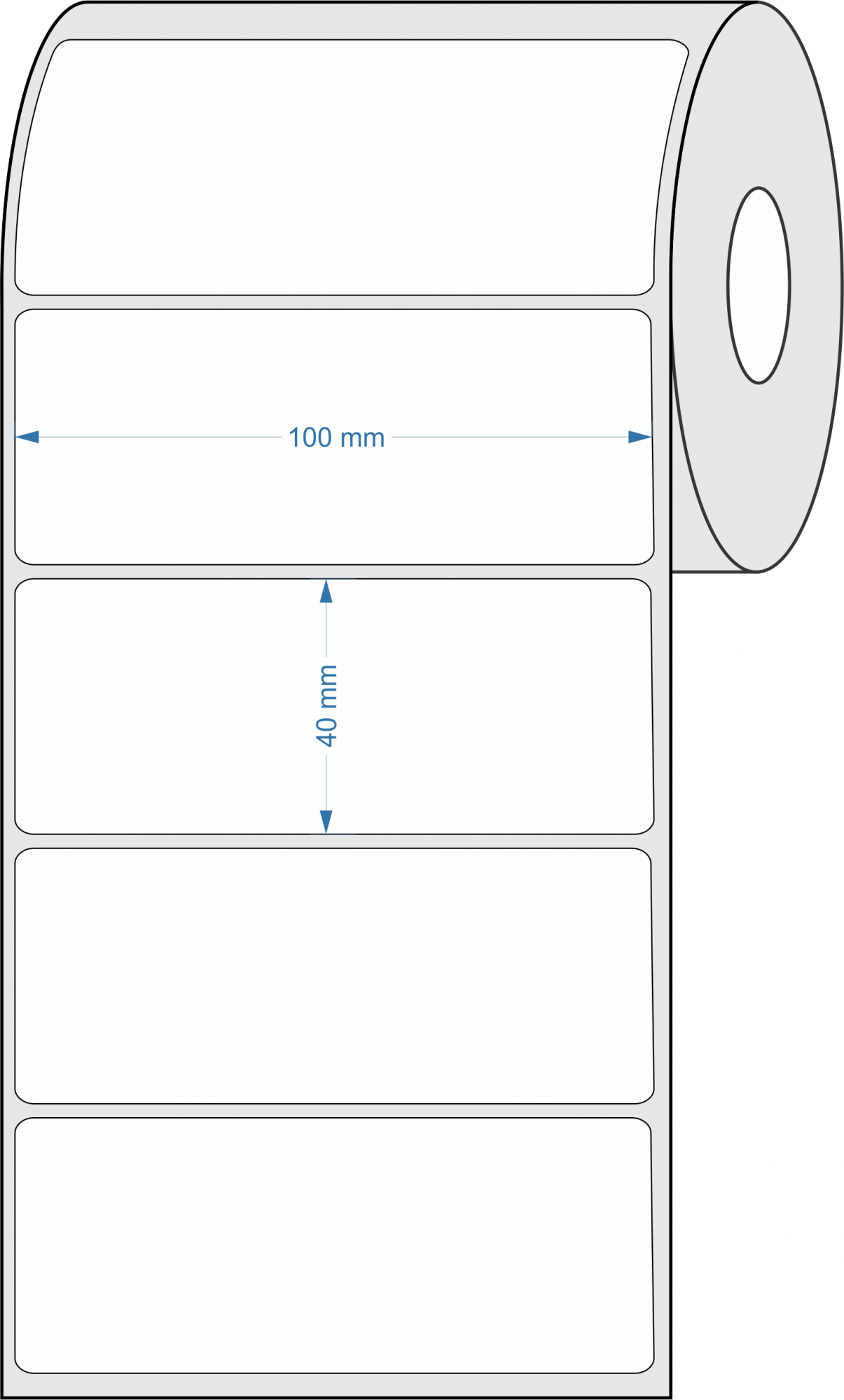 10 Rolos - Etiquetas Adesivas Couchê 100x40 Mm + 5 Ribbons Cera