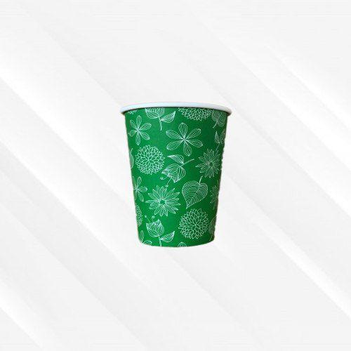 Copo de Papel Biodegradável 200 Ml Floral Verde 30un