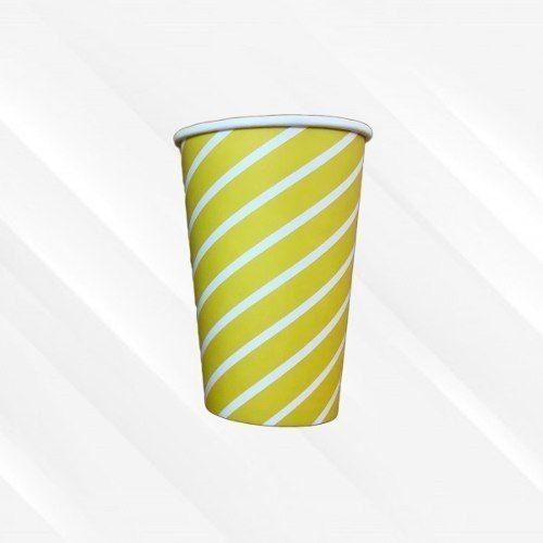 Copo de Papel  Biodegradável 330 Ml Listrado Amarelo 30un