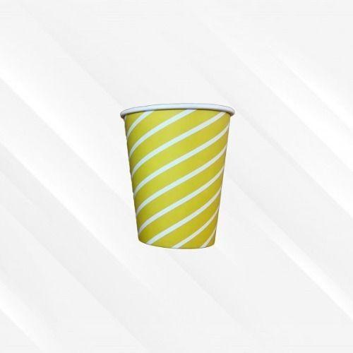Copo de Papel Biodegradável 200 Ml Listrado Amarelo 30un