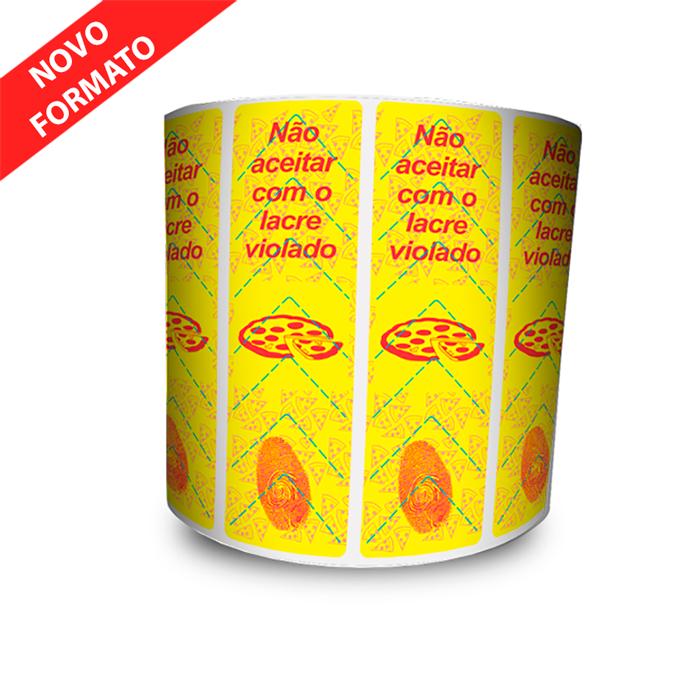 12 Rolos -  Lacre De Segurança Pizza 100x30 mm Milheiro