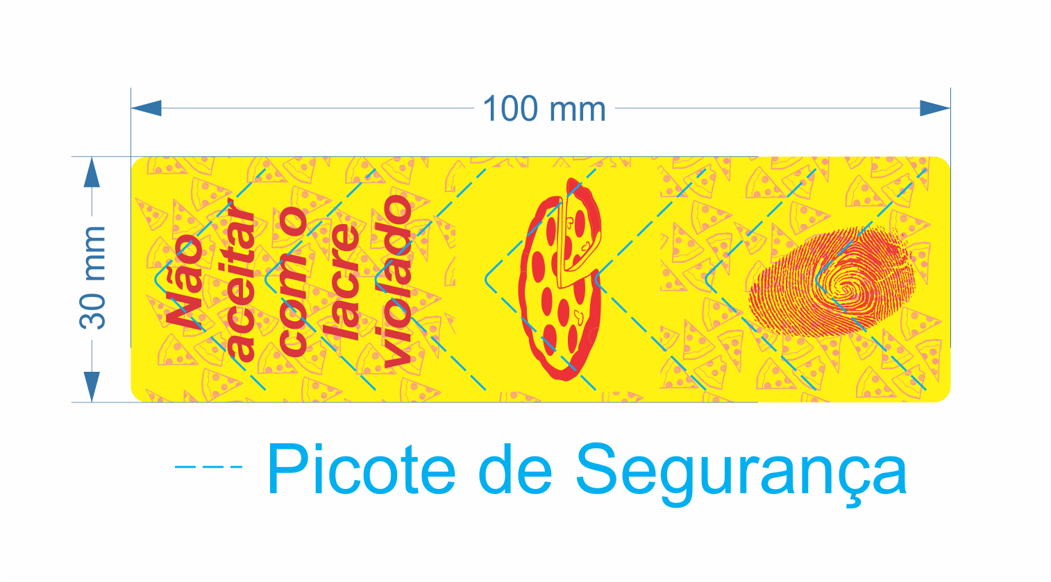 Lacre para Delivery de Pizza - 100x30 mm - 12 Rolos - Milheiro