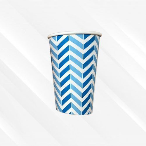 Copo de Papel Biodegradável 330 Ml Chevron Azul 30un