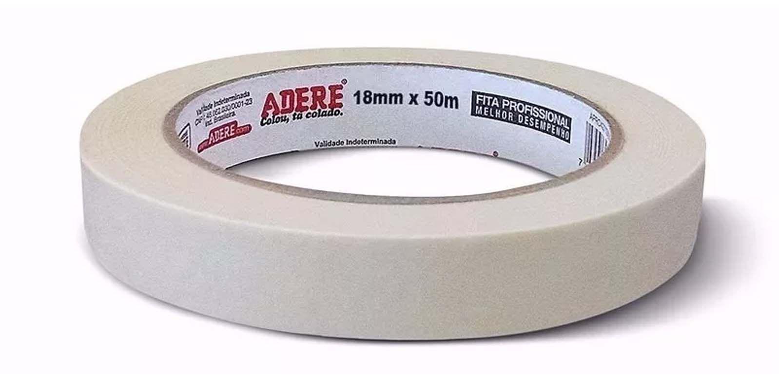 Fita Adesiva - Fita Crepe p/ parede - 427 18mmX50M - Adere - 16 Rolos