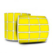 10 Rolos Etiquetas Adesivas  Amarela 33x22 mm Couchê 3 Colunas Espaçamento