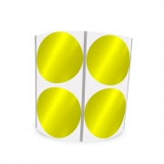 Etiqueta Redonda Metalizada Amarela 5Cm 2 Colunas Com Tarja - 1000 un
