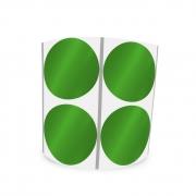 Etiqueta Redonda Metalizada Verde 3Cm 2 Colunas Com Tarja - 1000 un