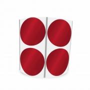 Etiqueta Redonda Metalizada Vermelha 3Cm 2 Colunas Com Tarja - 1000 un