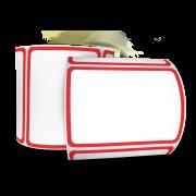 Kit 4 Rolos de Etiquetas Adesivas 60X40 mm Com Borda Vermelha COUCHÊ