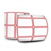 Kit 6 Rolos Etiquetas Adesivas 50X30 mm Bordas Vermelhas COUCHÊ 2 COLUNAS