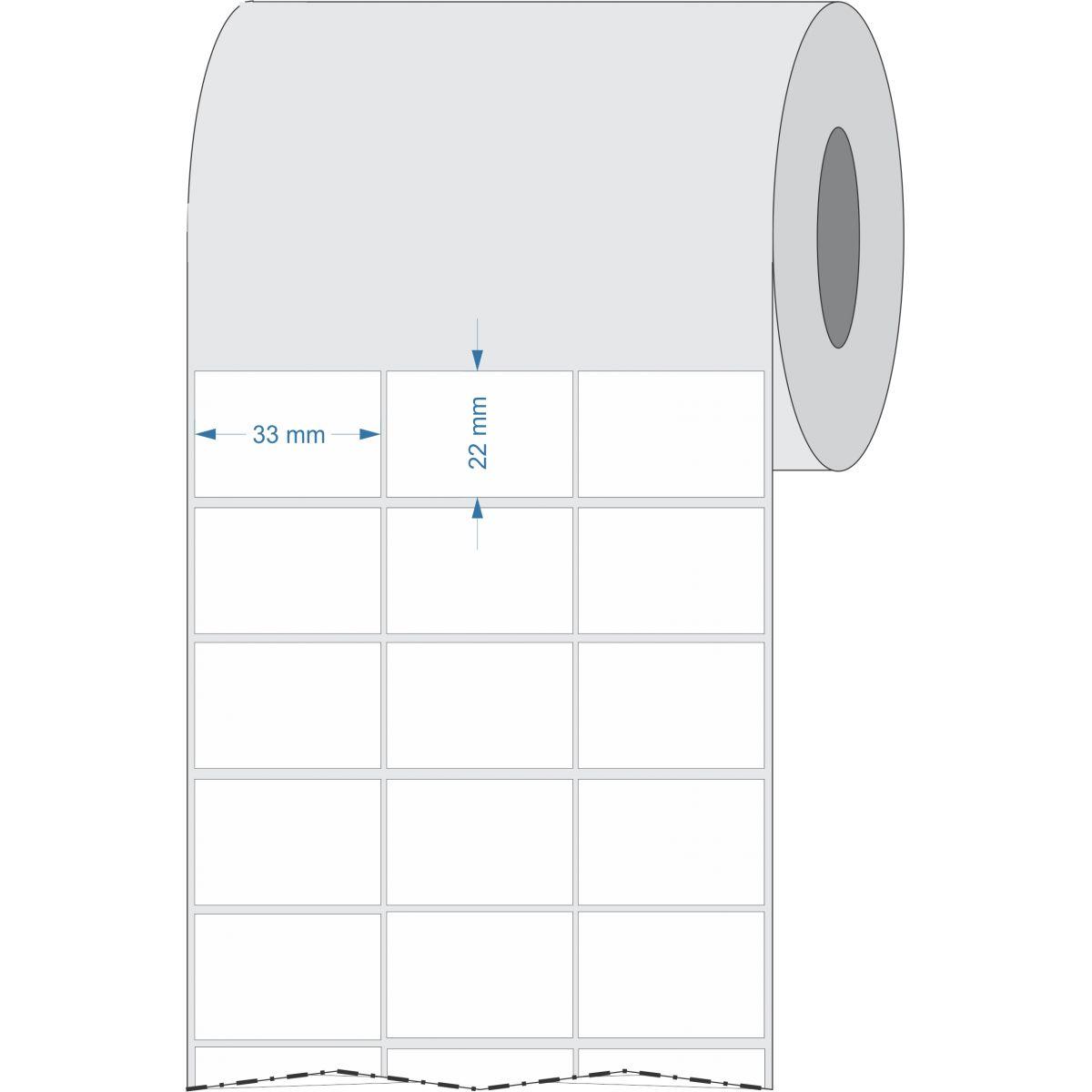 Etiquetas Adesivas 33x22 mm Couchê 3 Colunas Espaçamento 32 metros