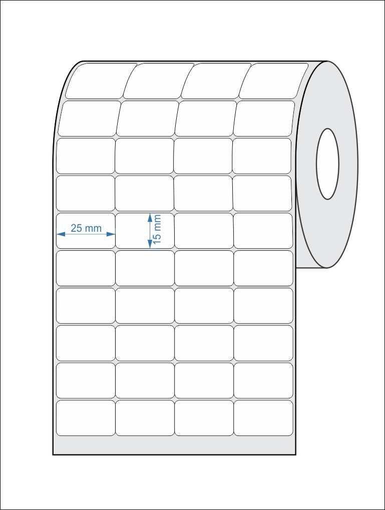 Etiquetas Adesivas 25x15 Mm Térmica 4 Colunas Sem Espaçamento