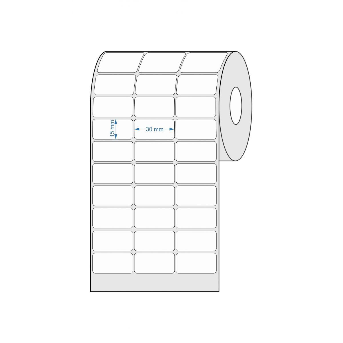 Etiquetas Adesivas 30x15 Mm Térmica 32 Metros 03 Colunas Com Espaçamento