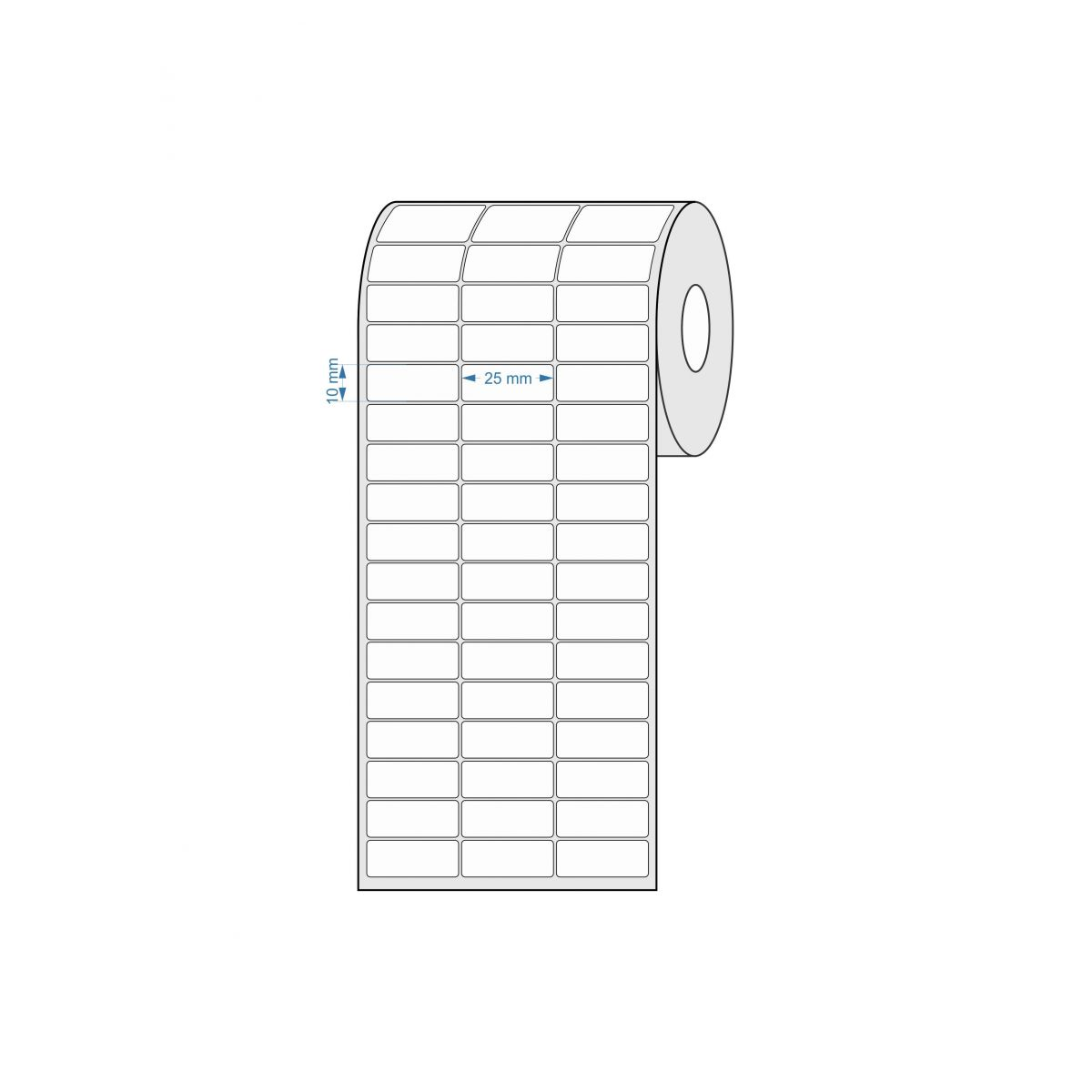 Etiquetas Adesivas 25x10 mm Térmica 3 Colunas com Espaçamento 32 Metros