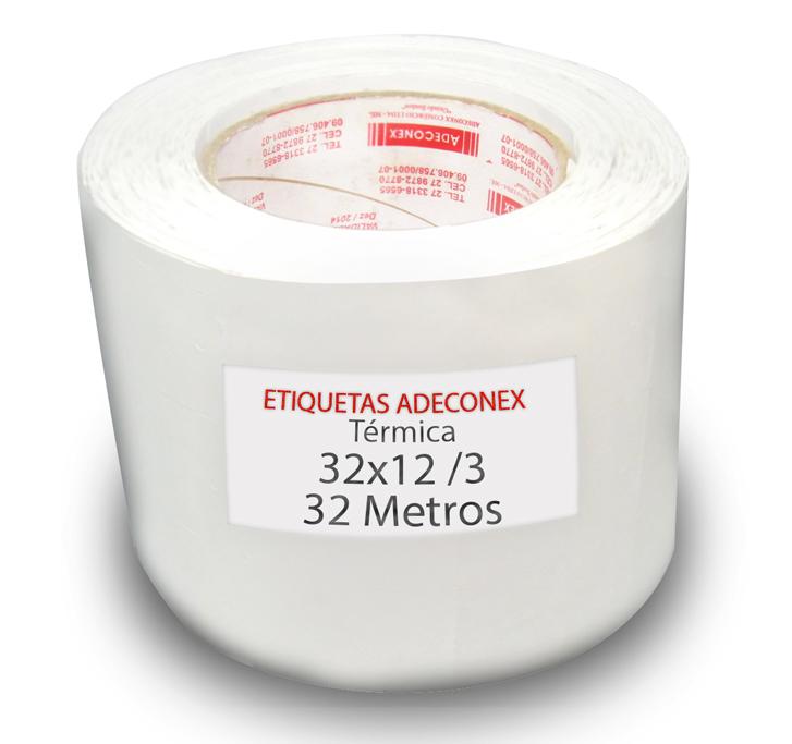 Etiquetas Adesivas 32x12 mm Térmica  3 Colunas com Espaçamento 32 Metros