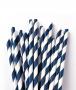 Canudo De Papel Biodegradavel Azul Listrado 6mm - 200 Und