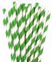 Canudo De Papel Biodegradavel Verde Listrado 8mm - 200 Und