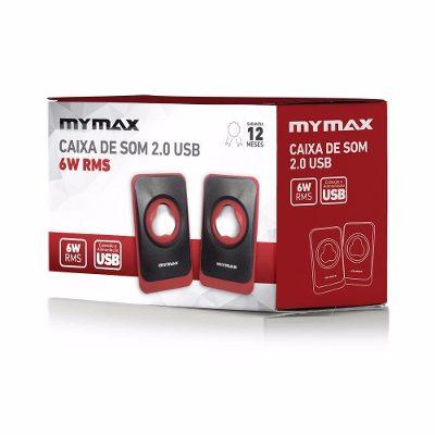 Caixa De Som Mymax 2.0 Usb 6w Rms