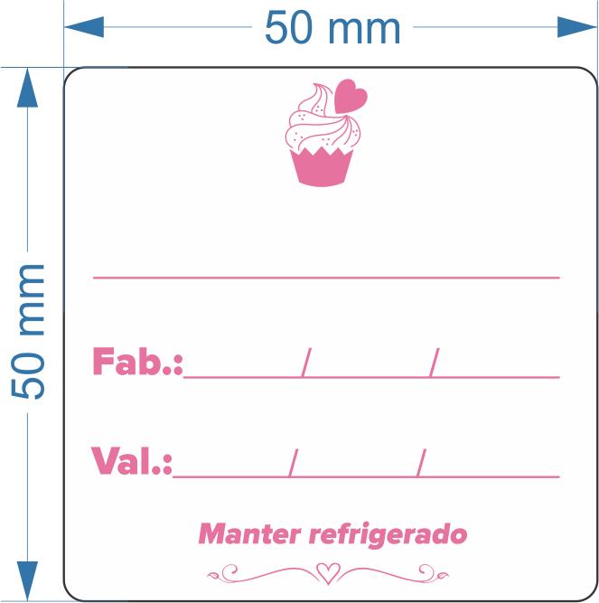 Cake Validade 50x50 mm  Couchê 32 metros 01 Coluna