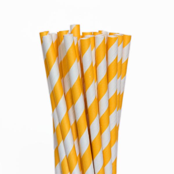 Canudo De Papel Biodegradavel Amarelo 8mm - 100 Und