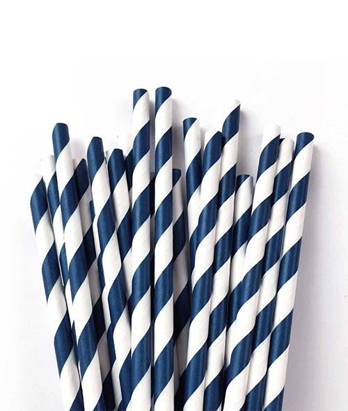 Canudo De Papel Biodegradavel Azul Listrado 6mm - 100 Und