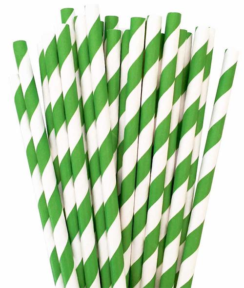 Canudo De Papel Biodegradavel Verde Listrado 8mm - 100 Und