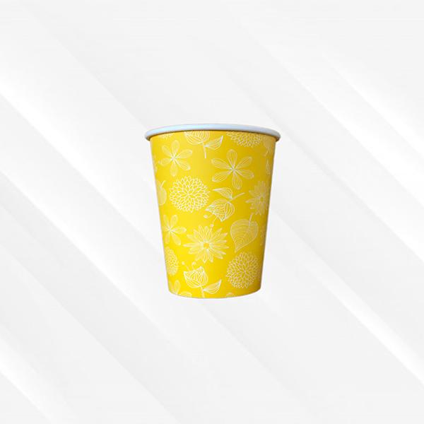 Copo De Papel Biodegradável Floral Amarelo 200ml 30un