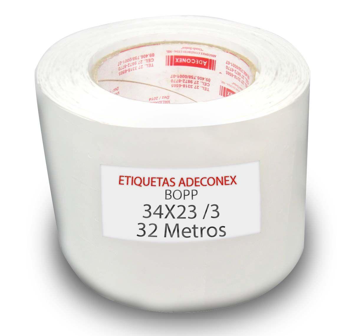 Etiqueta Adesiva BOPP 34x23 3 Colunas sem Espaçamento 32 Metros