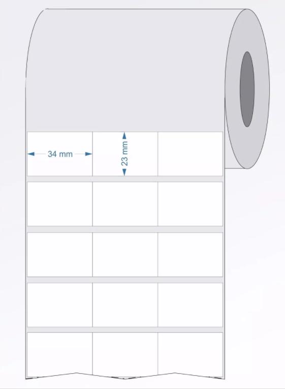 Etiquetas Adesivas BOPP 34x23 3 Colunas sem Espaçamento 32 Metros