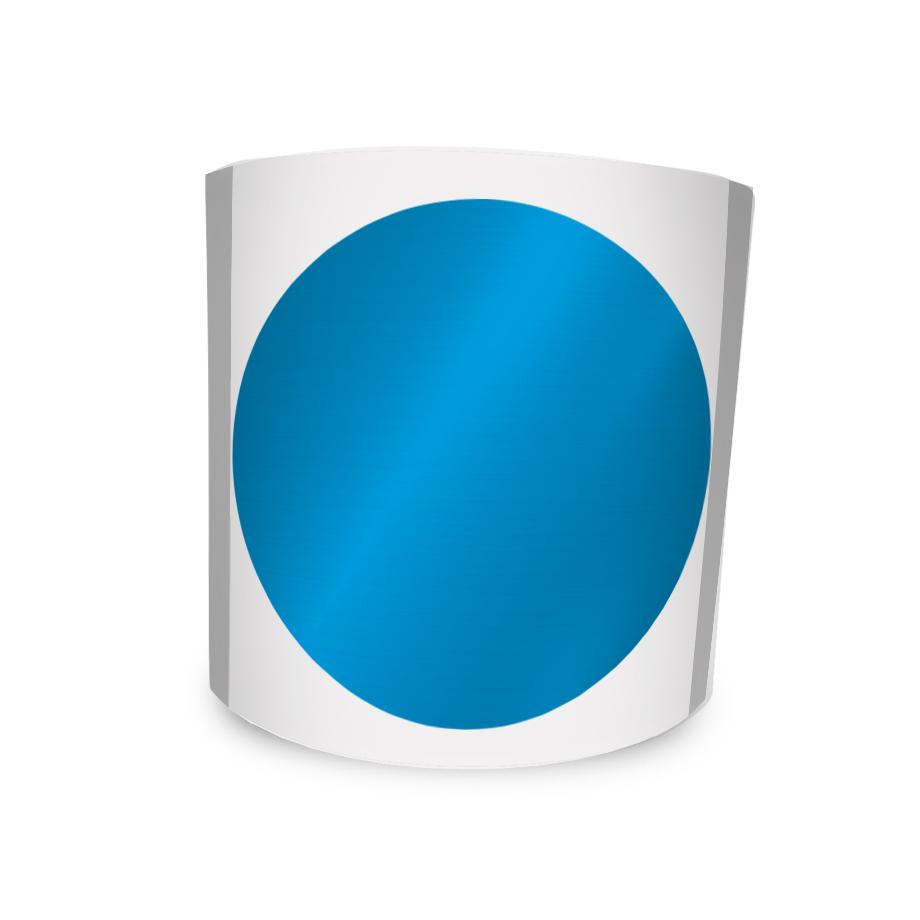 Etiqueta Redonda Adesiva Azul Metalizada 4Cm 500un Com Tarja