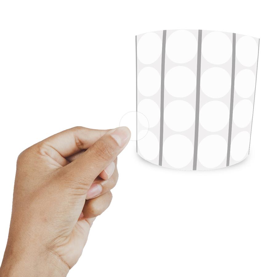 Etiqueta Redonda Transparente 2Cm 4 Colunas Com Tarja - 1000 un