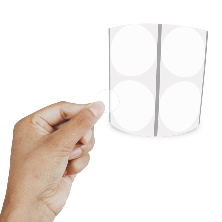 Etiqueta Redonda Transparente 4Cm 2 Colunas Com Tarja - 1000 un