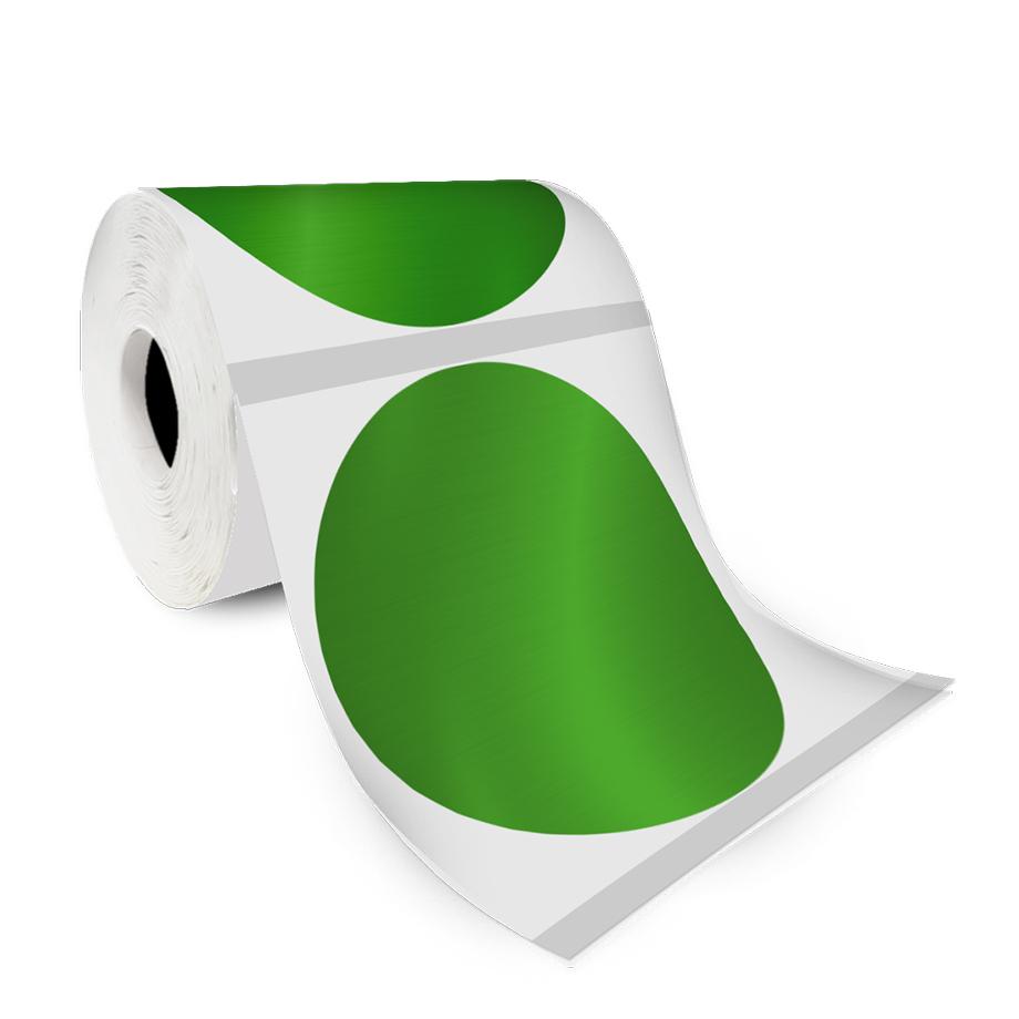 Etiqueta Redonda Adesiva Verde Metalizada 4Cm 500un Com Tarja