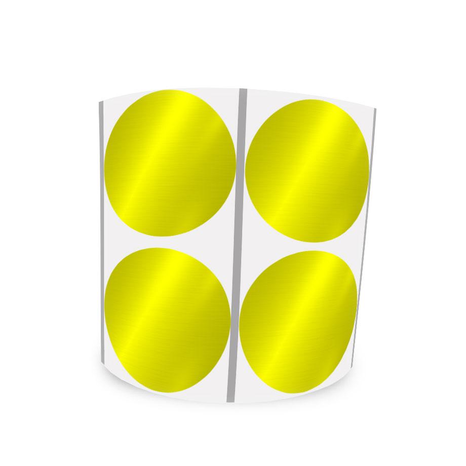 Etiqueta Redonda Metalizada Amarela 4Cm 2 Colunas Com Tarja - 1000 un