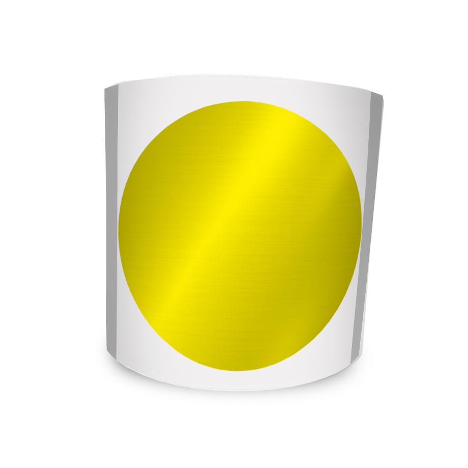 Etiqueta Redonda Metalizada Amarela 6Cm 1 Coluna Com Tarja - 500 un