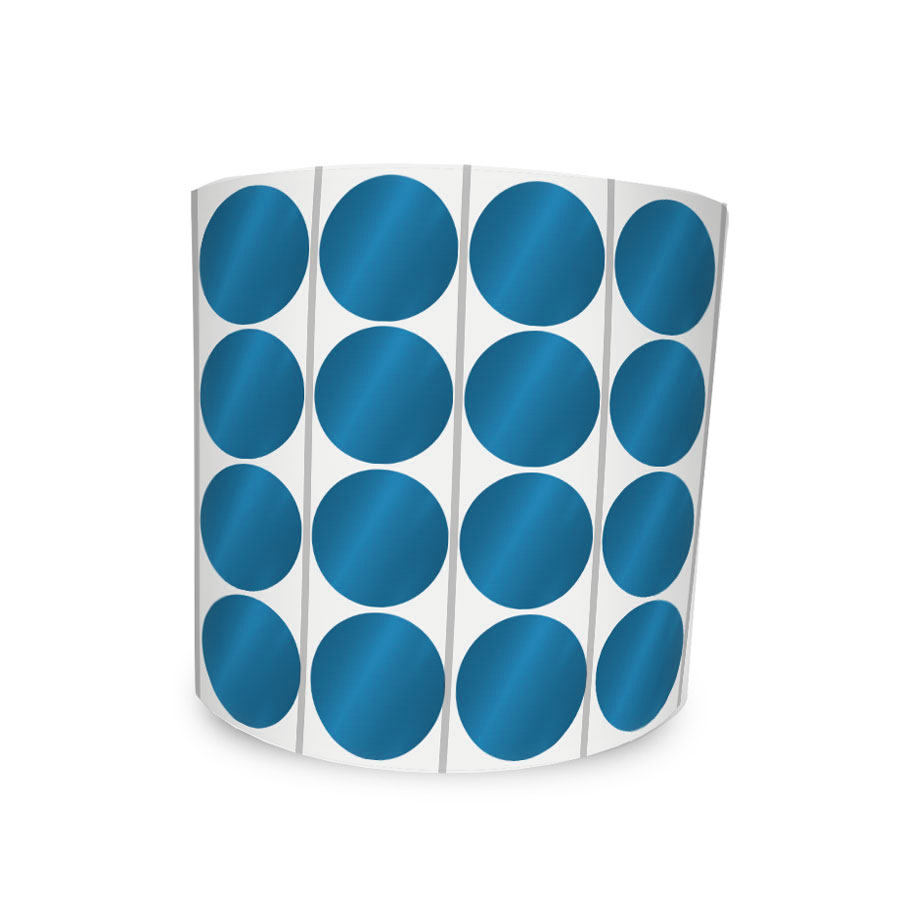 Etiqueta Redonda Metalizada Azul 1,2Cm 4 Colunas Com Tarja - 1000 un
