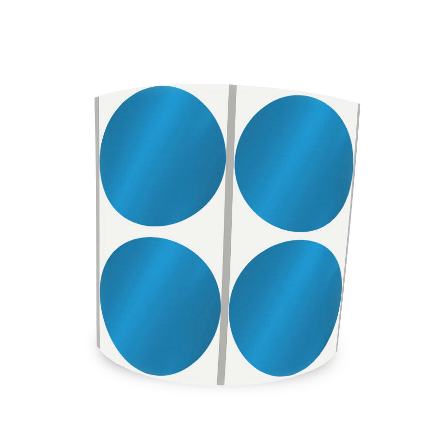 Etiqueta Redonda Metalizada Azul 4Cm 2 Colunas Com Tarja - 1000 un