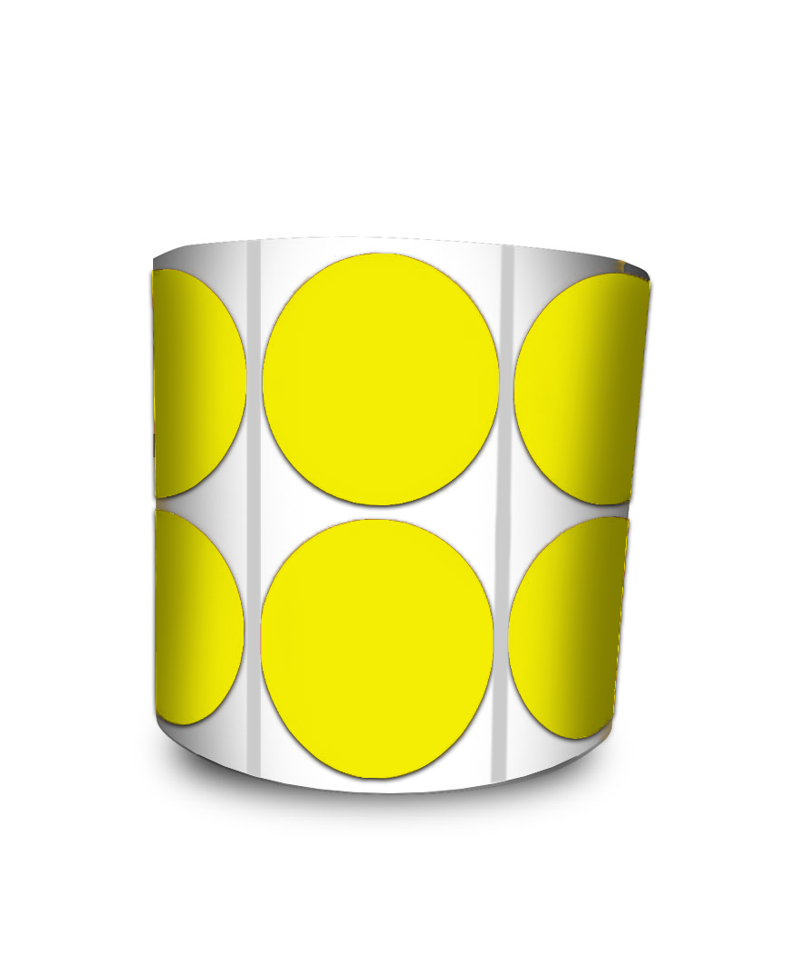 Etiqueta Redonda - Bolinha Amarela 3 cm com Tarja