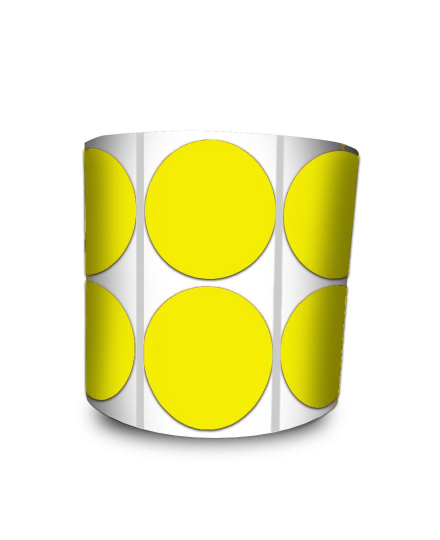 Etiqueta Redonda - Bolinha Amarelo 5 cm com Tarja