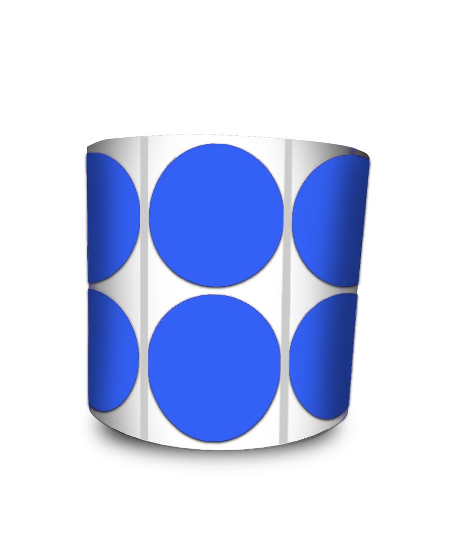 Etiqueta Redonda - Bolinha Azul 5 cm com Tarja