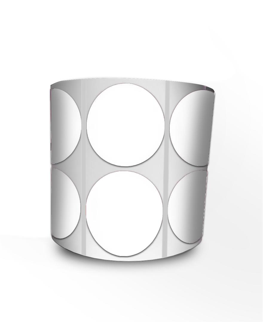 Etiqueta Redonda - Bolinha Branca 5 cm com Tarja