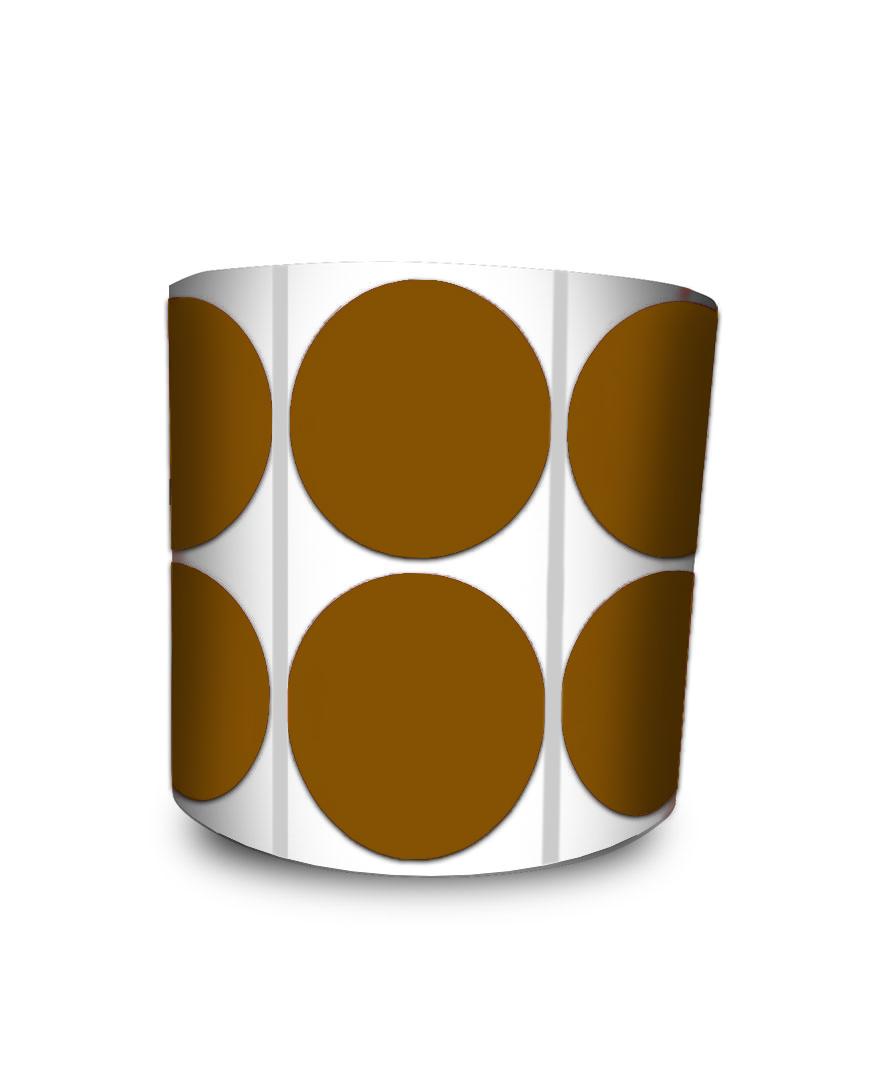 Etiqueta Redonda - Bolinha Marrom 4 cm com Tarja