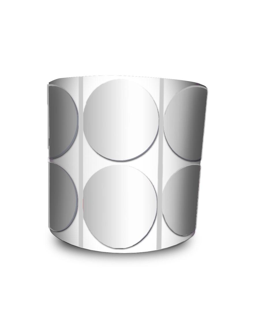 Etiqueta Redonda - Bolinha Prata 5 cm com Tarja