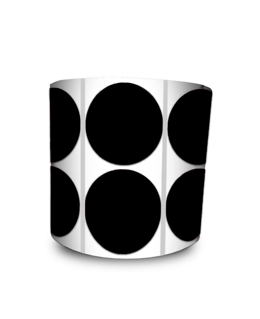 Etiqueta Redonda - Bolinha Preta 4 cm com Tarja