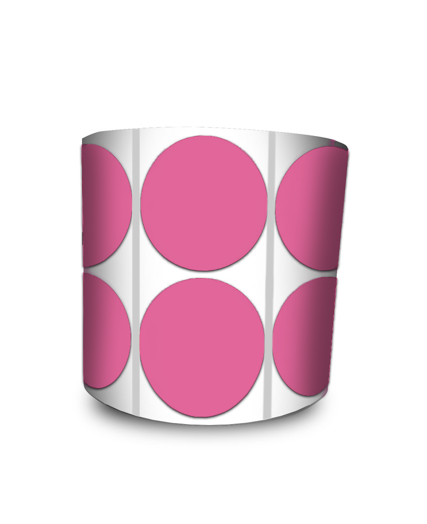 Etiqueta Redonda - Bolinha Rosa 5 cm com Tarja