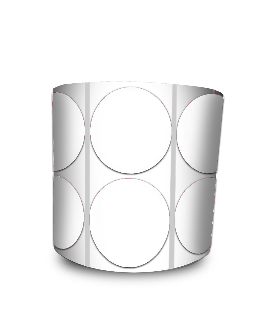 Etiqueta Redonda - Bolinha Transparente 4 cm com Tarja