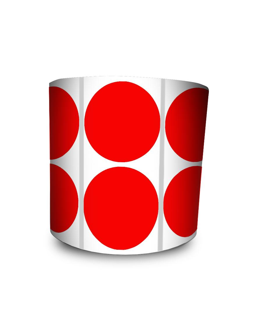 Etiqueta Redonda - Bolinha Vermelha 4 cm com Tarja