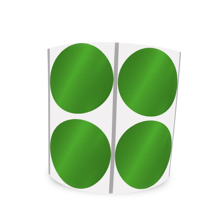Etiqueta Redonda Metalizada Verde 4Cm 2 Colunas Com Tarja - 1000 un