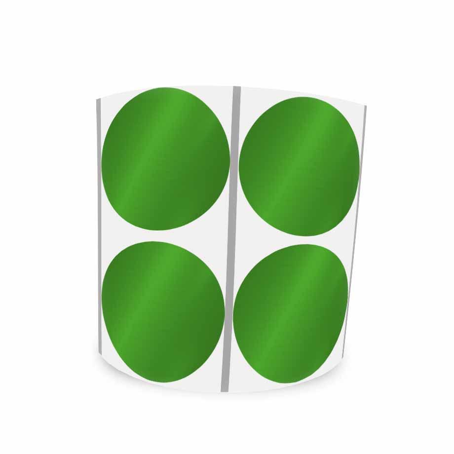Etiqueta Redonda Verde 5Cm 2 Colunas Com Tarja - 1000 un
