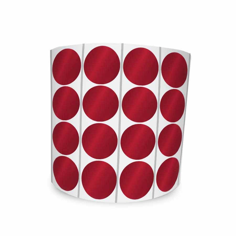 Etiqueta Redonda Vermelha 2Cm 4 Colunas Com Tarja - 1000 un